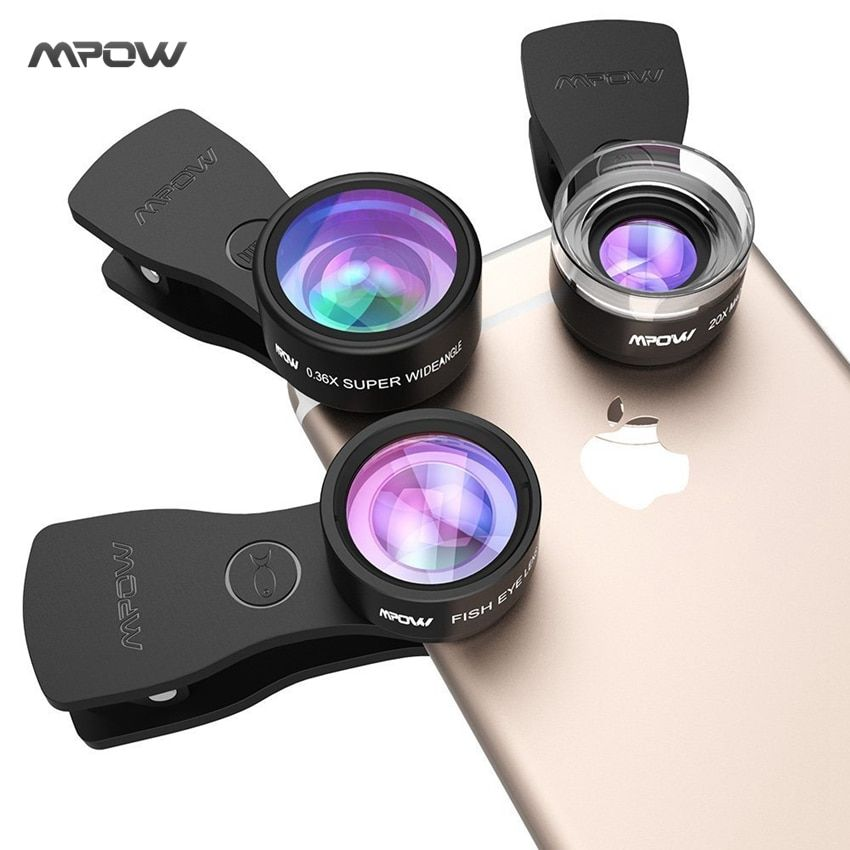 D'origine Mpow MFE4 Clip-Sur Téléphone Camera Lens Kits 180 Degrés Fisheye lentille + 0.36X Grand Angle + 20X Objectif Macro pour les Téléphones Portables