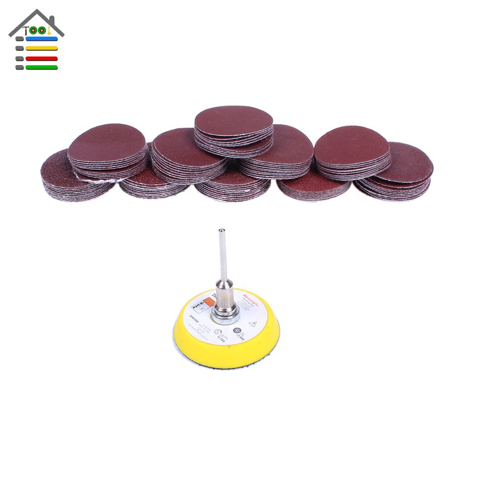 100PCS Sander Disc Sanding Pad Polishing 50mm 40-400 Grit Paper + 1pc Hook Loop Plate fit Dremel 4000 Electric Grinder Abrasive