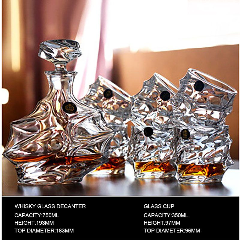 #25 Whisky Glass 1 Set 1 Pcs Glass Bottle Decanters 750 Ml UPS Express 6 Pcs Glass Cup High Quality Safety Box