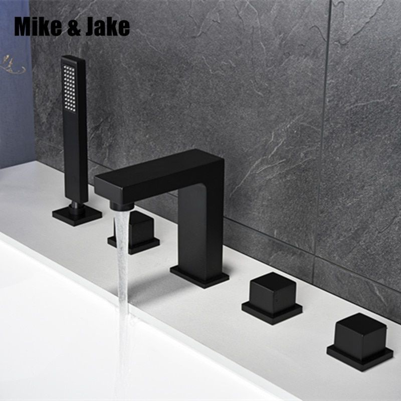Bathroom black bath faucet square black bathtub mixer tap black shower room faucet set black faucet tap pull out shower