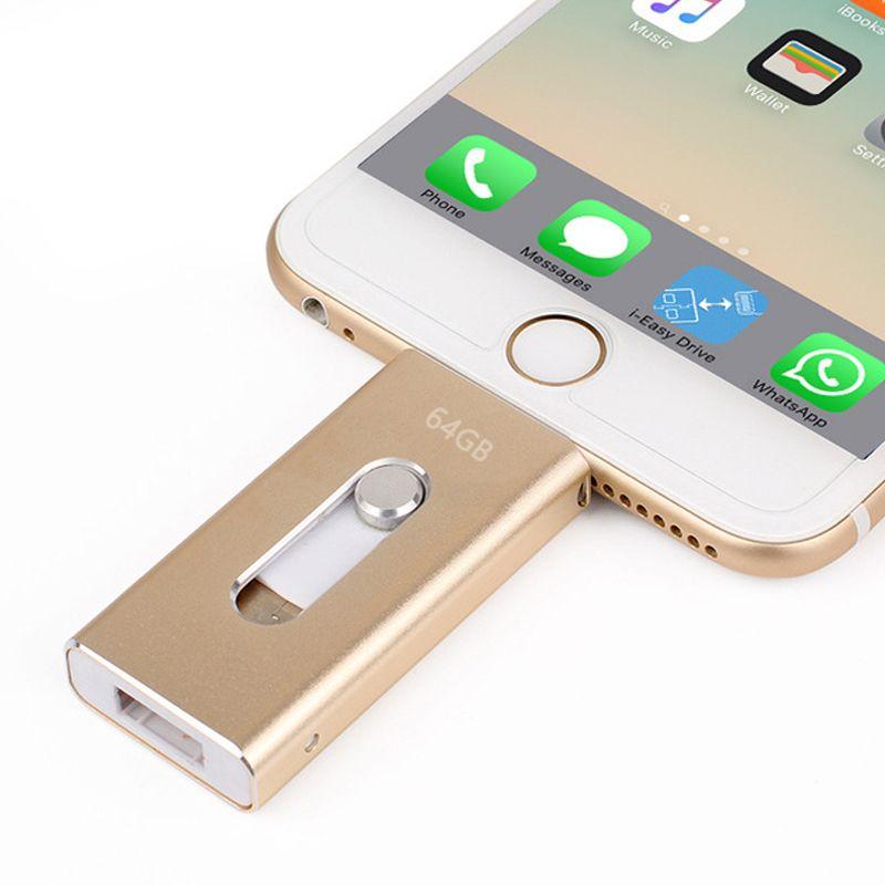 Wholesale Pen drive 128GB 64GB <font><b>32GB</b></font> 16GB Metal USB OTG iFlash Drive HD USB Flash Drives for iPhone iPad iPod iOS Android Phone