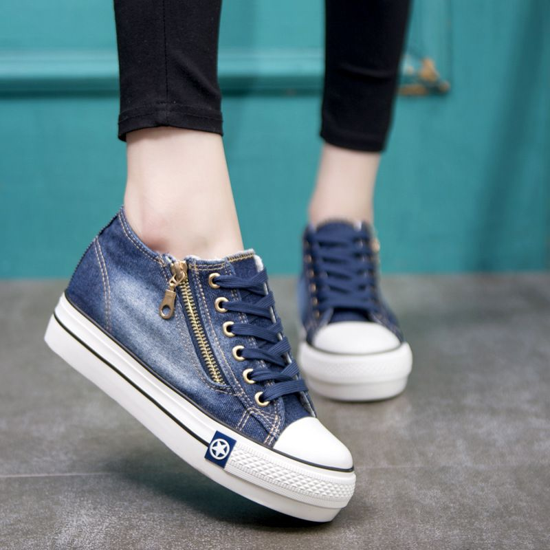Été mode toile chaussures femmes baskets fond épais Denim chaussures décontractées femmes baskets à lacets dames Basket Femme