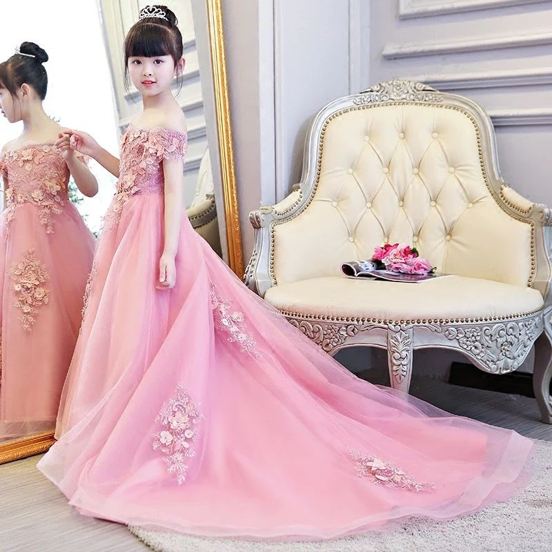 Spring New Children Kids Luxury Sleeveless Pink Color Birthday Wedding Party Flowers Lace Dress With Trailing Piano Play Dress
