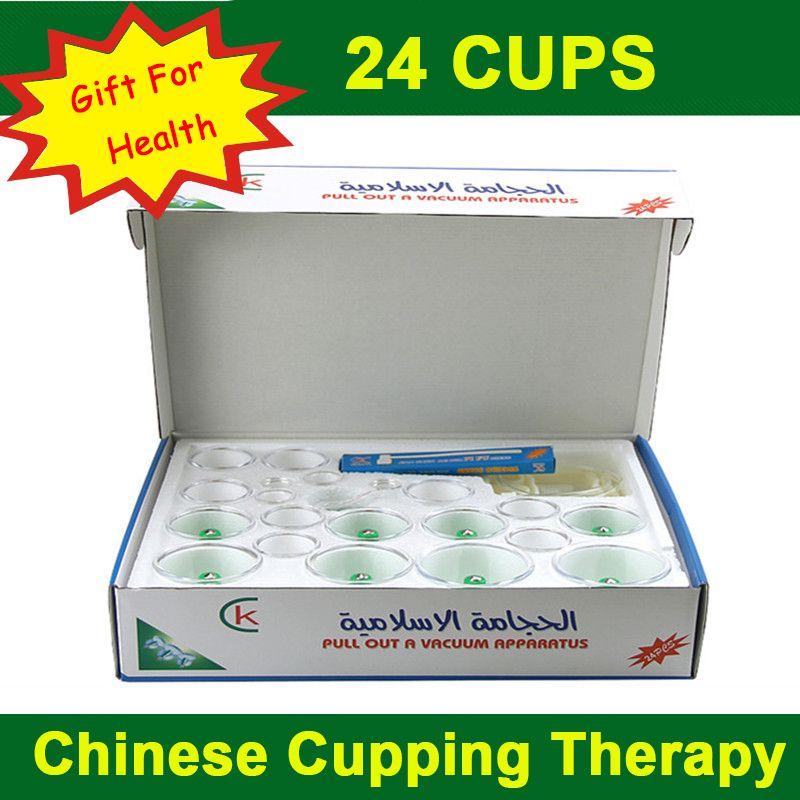 Anglais verson! 24 tasses réservoirs chinois vide médical ventouses ensembles magnétique hijama thérapie corps relax masseur pour les soins de santé