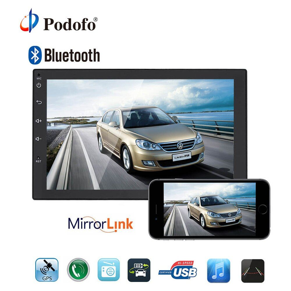 Podofo 2 Din Android Universal Car Radio GPS Navigation Bluetooth 2din Car Audio Stereo FM USB Car Multimedia MP5 No DVD Player