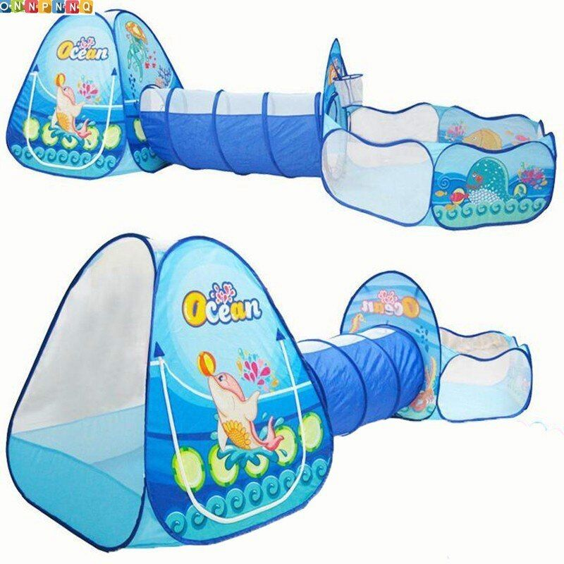 Ocean Sence 3pc Children Play Tent Crawl Tunnel Ball Pool Kids Toy Tents Baby Indoor Outdoor Use Large Children for tent House