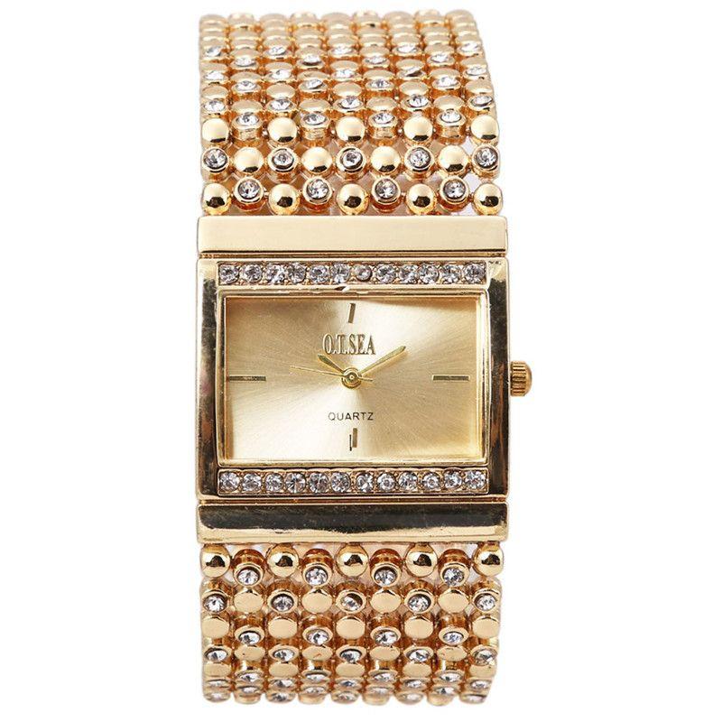Alta Calidad Mujeres Pulsera de Acero Inoxidable Del reloj del Reloj de diamantes de Imitación de Cristal de Cuarzo Analógico Reloj de pulsera Relogio Feminino
