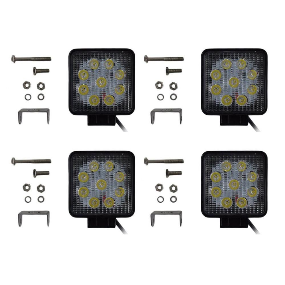 4pcs/set Square Shape 27W LED Work Light Low Power Consumption Spot Fog Driving Light with 9 LEDs For Jeep Truck Boat ATV