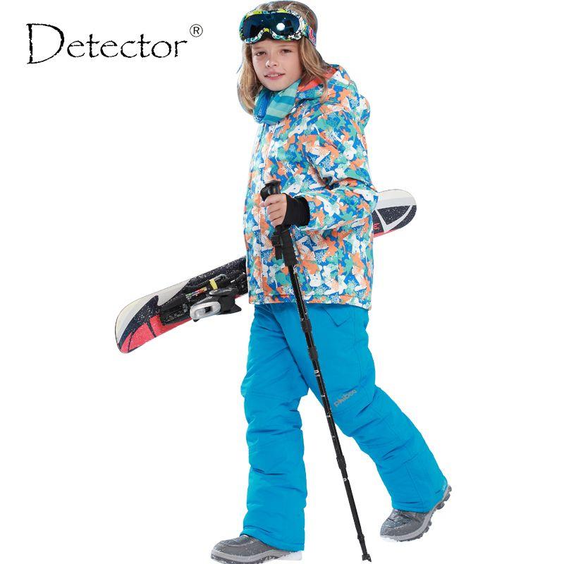 Детектор детская зимняя одежда комплект ветрозащитный лыжный Куртки + штаны детские зимние Наборы для ухода за кожей Обувь для мальчиков от...