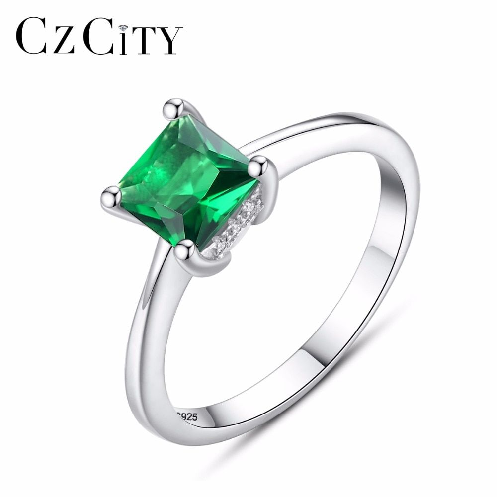 CZCITY Emerald Simple Female Zircon Stone Finger Ring 925 Sterling Silver Women Jewelry Prom Wedding Engagement Rings Brand Gift