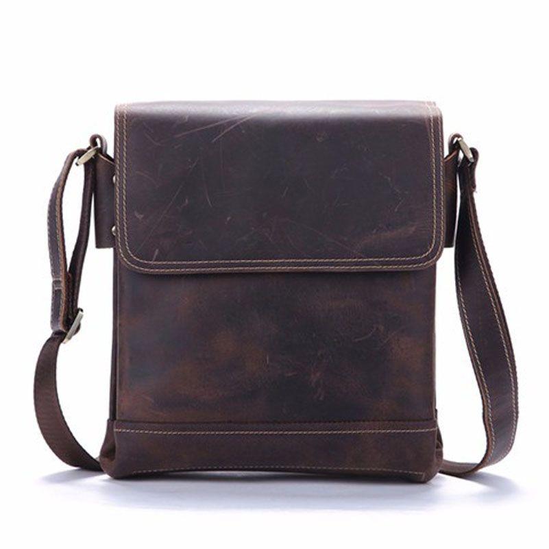 Crazy Horse Echtes Leder Männlichen männer Über Schulter Messenger Handtasche Lässig Crossbody Taschen Für iPads Aktentasche Portfolio 9065
