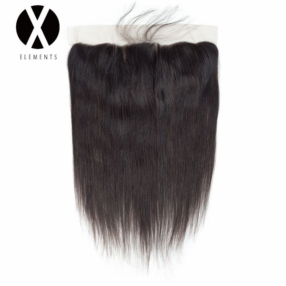 X-Elements Hair Straight 13*4 Lace Frontal Human Non-Remy Peruvian Natural Color Frontal Weaves Hair Extensions