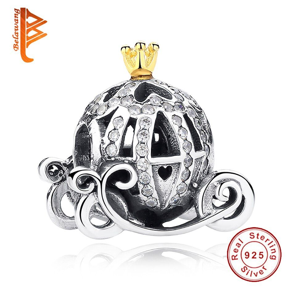 BLAWANG Authentic 925 Sterling Silver european Cinderella Pumpkin Carriage Charm Gold Crown Fit BW Original Charm Bracelet
