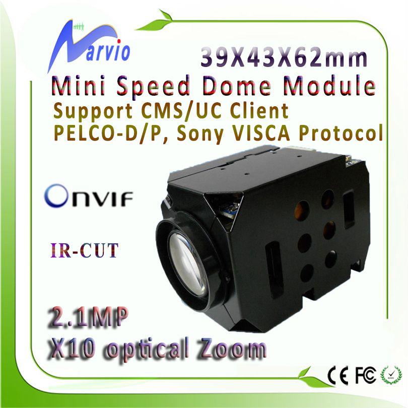 FULL HD 1080 P mini IP PTZ module de caméra X10 Zoom Onvif RS485 RS232 le système de sécurité de surveillance cctv, livraison gratuite