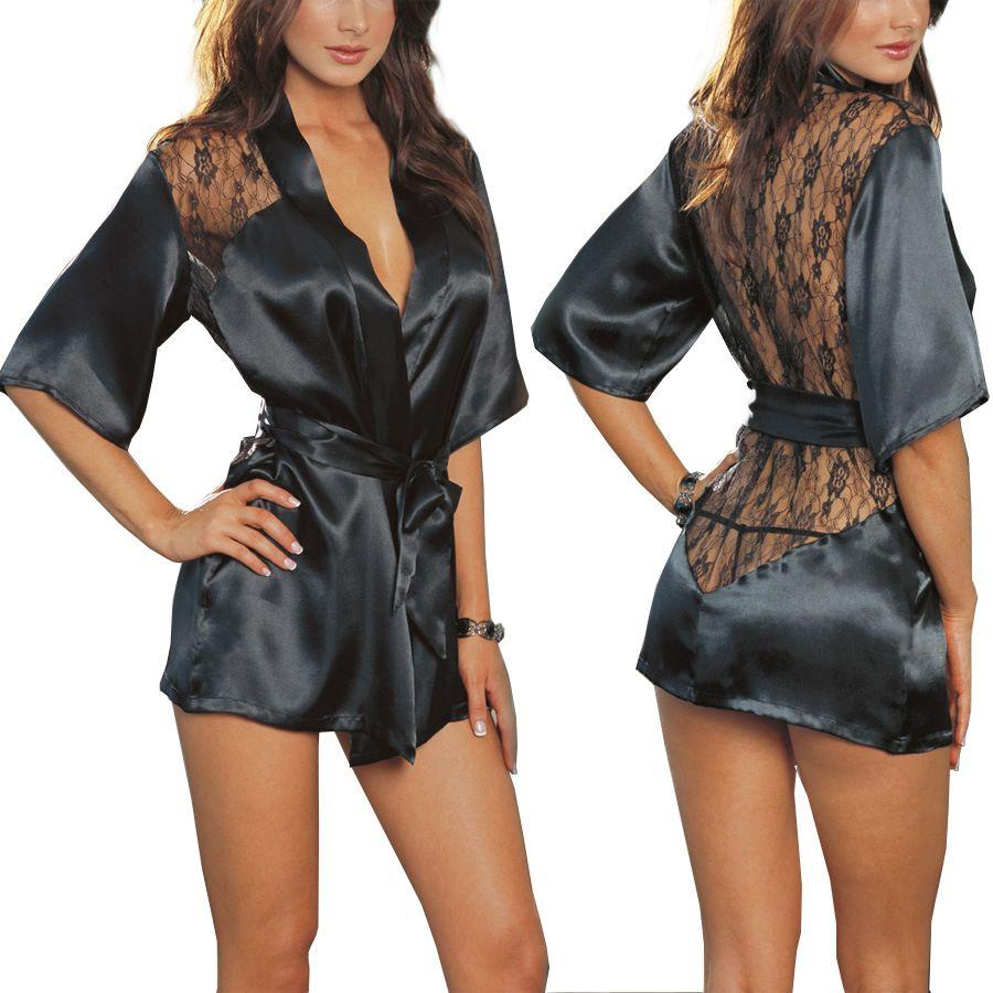 2019 Noir femme robe de nuit fixe Femmes sexy dentelle D'été de vêtements de Nuit 3 pcs (sleepwar + culotte + Ceinture) WQ136