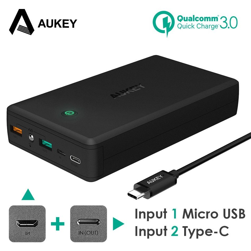 AUKEY Quick Charge 3.0 Power Bank 30000mAh Portable Charger USB External Fast Battery PowerBank For iPhone 8 7 Samsung Galaxy s8