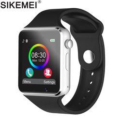 SIKEMEI Bluetooth Montre Smart Watch Smartwatch Téléphone avec Podomètre Écran Tactile Support de Caméra TF Carte SIM pour Android iOS Smartphone