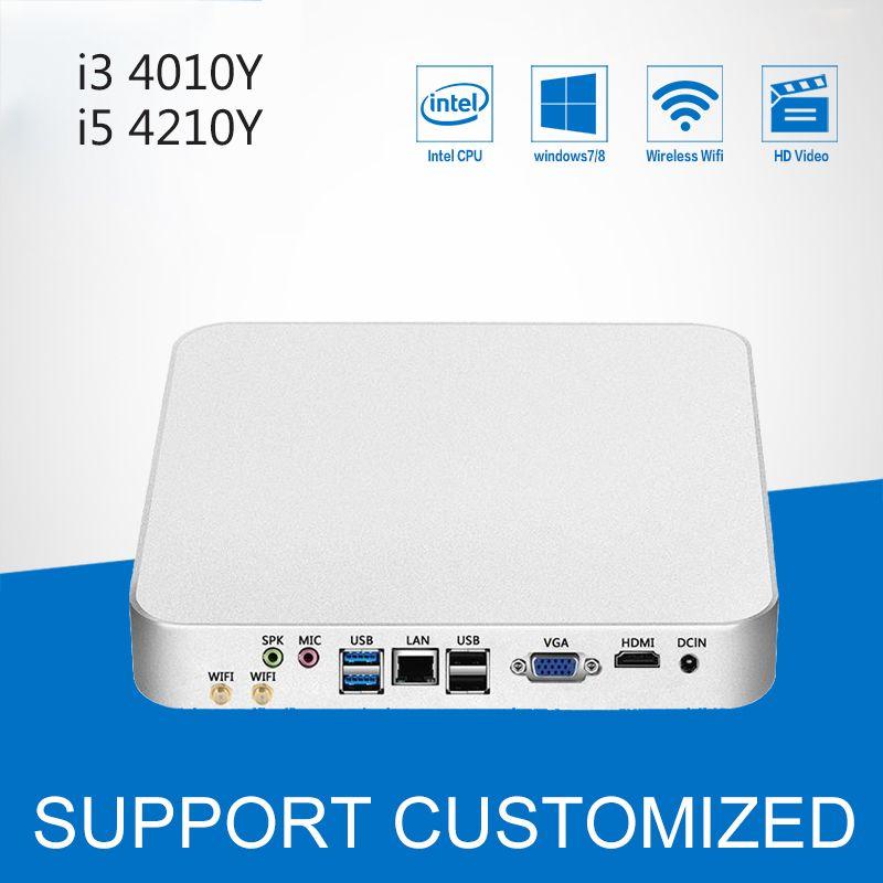 Мини-ПК Barebone Win 10 HD Графика Мини рабочего Computador Intel Core i5 4200y 4210y компьютер с вентилятором i3 4010y 4020y HTPC