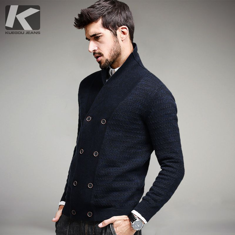 KUEGOU Men Fashion Wool Sweater Male Knitted Cardigan Fashion Mens Sweaters Spring Autumn Leisure Sweater for Men 13306