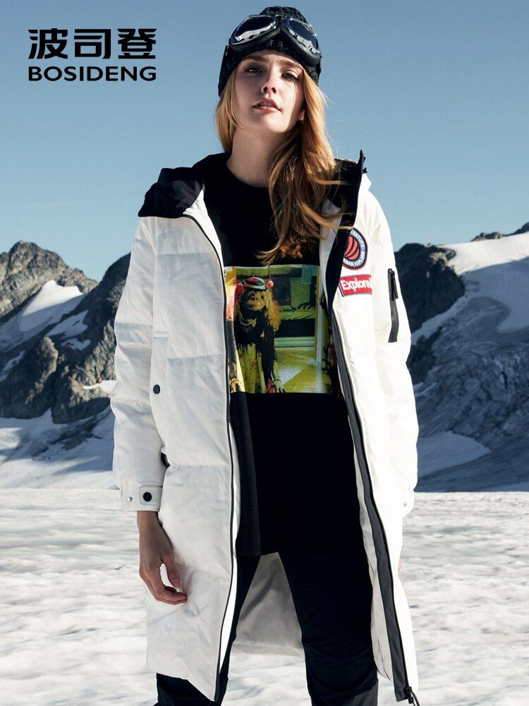 BOSIDENG 2018 new goose down jacket women long hooded parka waterproof windproof coated fabric high quality B80142152