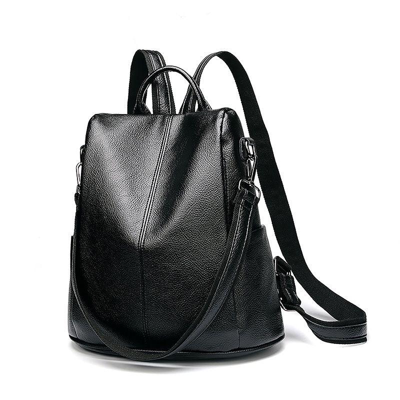 Frauen Multifunktions Rucksack Aus Echtem Leder Casual Schulter Tasche Große Kapazität Rucksack Weibliche Zipper Schule Tasche Reisetasche C643