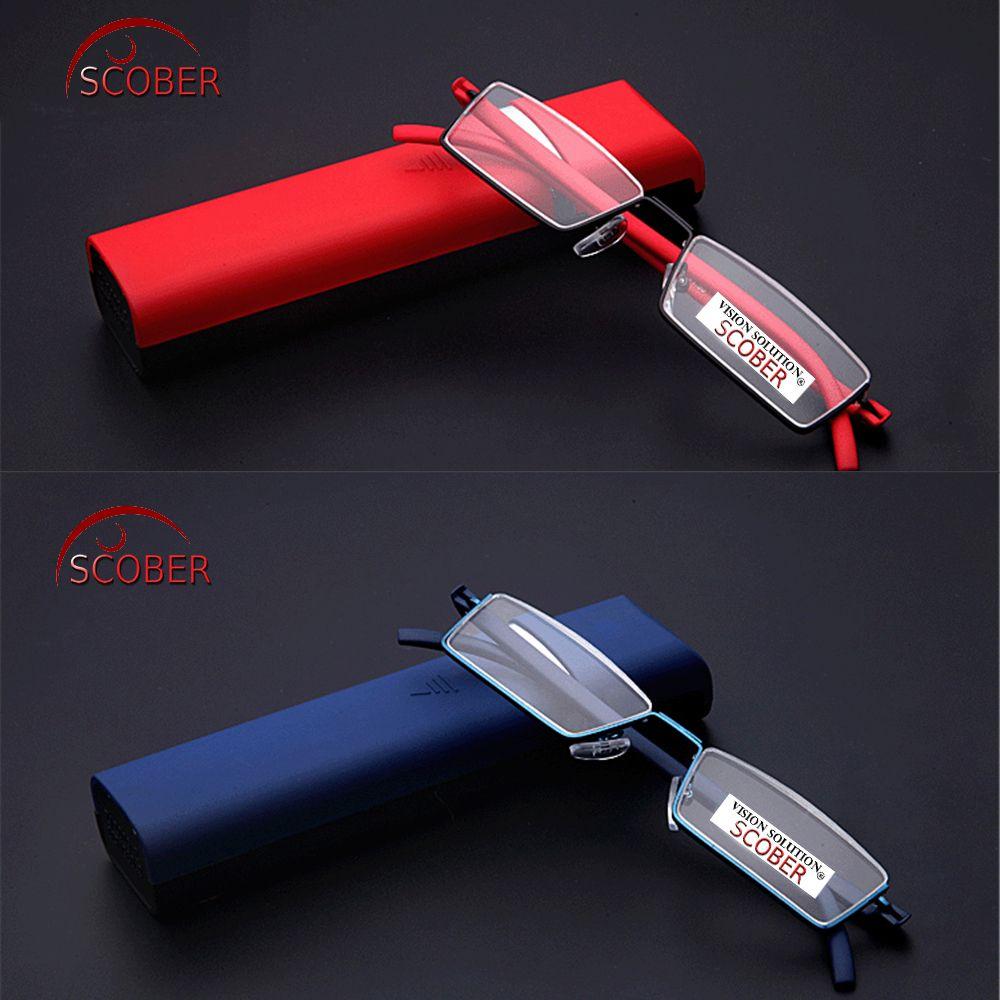 = SCOBER = UP demi-jante quatre couleurs rouge noir bleu marron hommes femmes lunettes de lecture alliage Ultra léger Tr90 + 0.5 + 0.75 + 1 à + 6