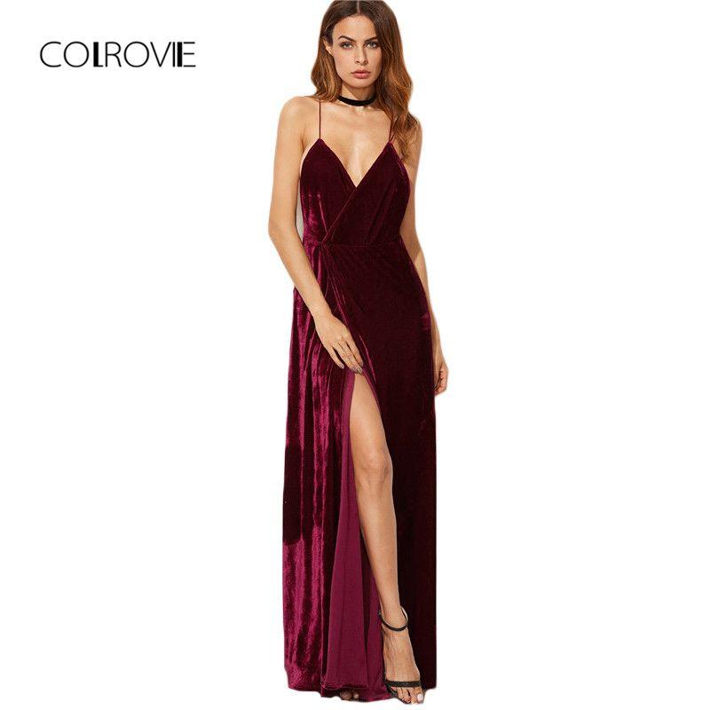 COLROVIE Burgundy Velvet Maxi Backless Dress <font><b>Womens</b></font> Autumn Party Dresses Deep V Neck Long Elegant Dress New Strappy Wrap Dress