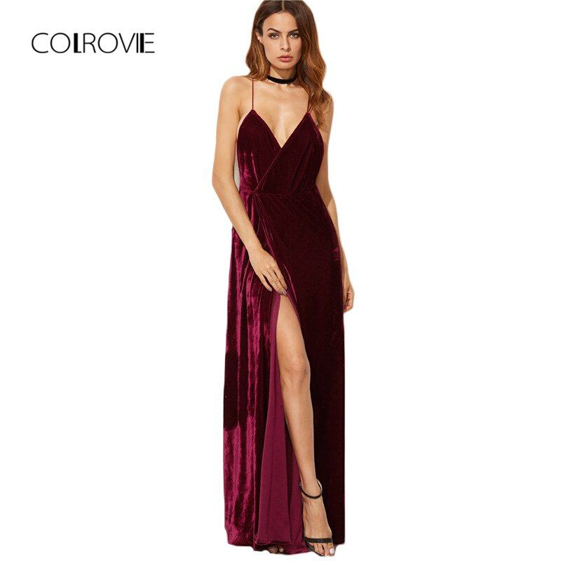 COLROVIE bourgogne velours Maxi dos nu robe femmes automne robes de soirée profonde col en V longue élégante robe nouvelle robe à bretelles