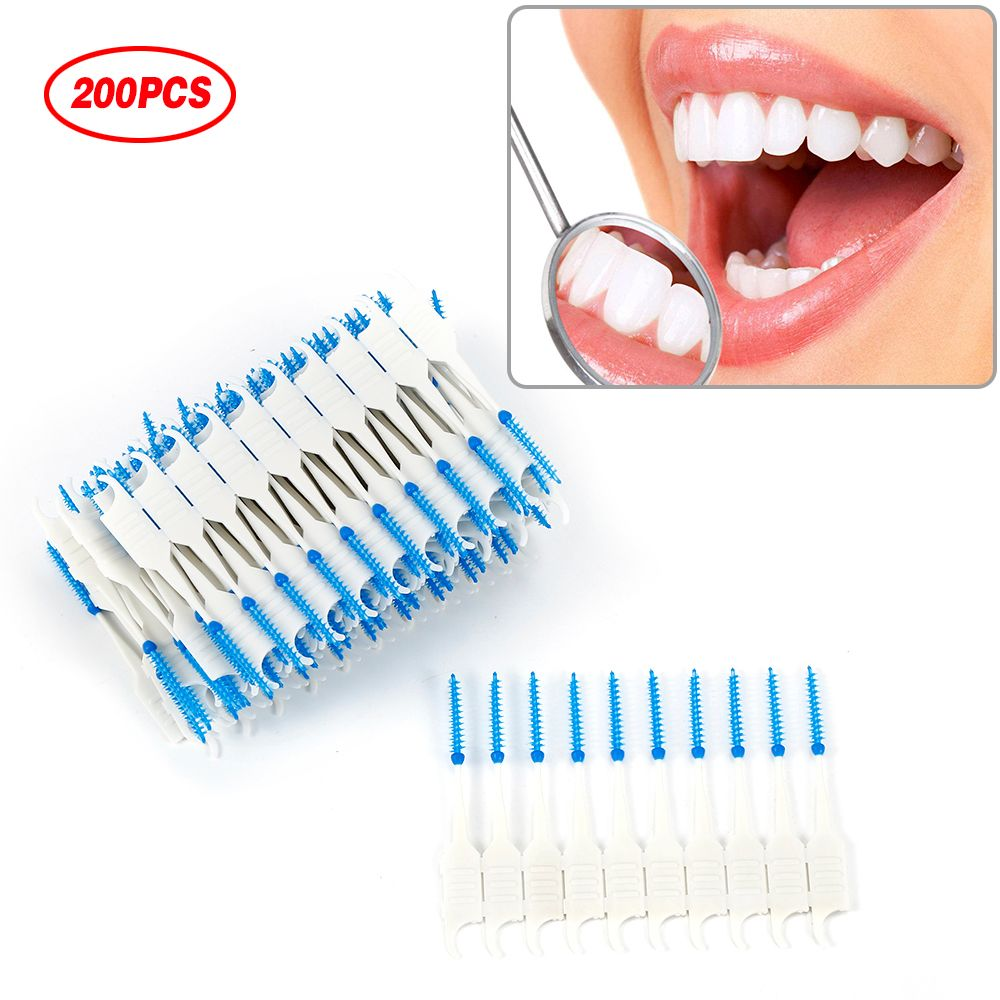 Dental Dual Interdental Brush 200Pcs Tooth Flossing Head Teeth Oral Hygiene Toothpick Tooth Pick Brush Tooth Cleaning Tool