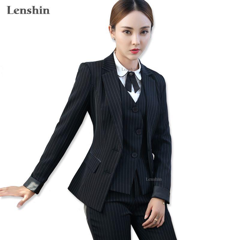 Lenshin 3 Pieces Set Black Striped Vest Pant Suits Office Lady Formal Business Uniform Designs Style Female Women Work Wear