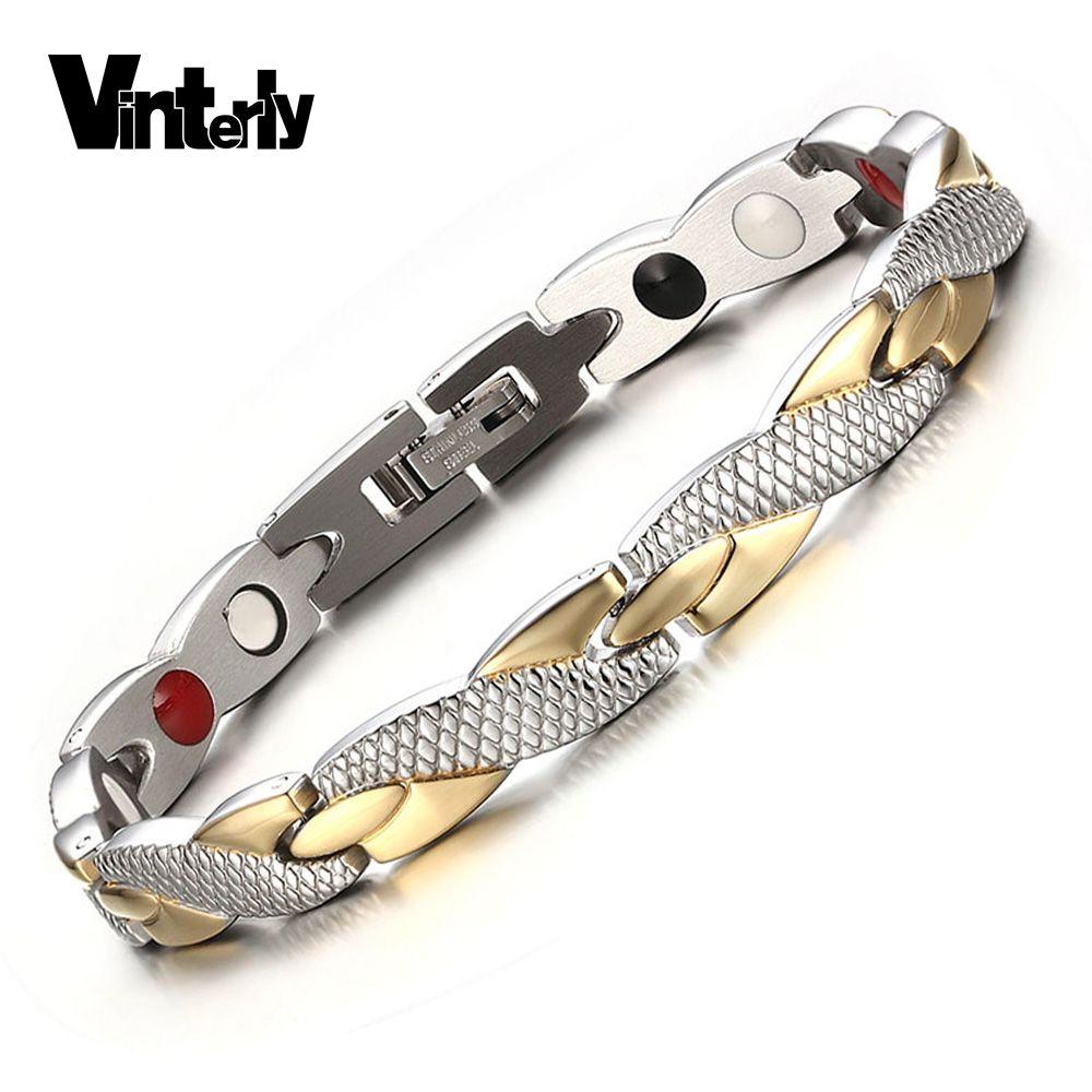 Vinterly <font><b>Health</b></font> Energy Magnetic Ion Germanium Bracelet Men Pulseras Hombre Chain Link Stainless Steel Bracelet Bangle Women Men