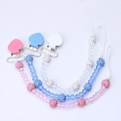Crystal Baby Pacifier Clips Soother Holder Anti Folder Pacifier Clip Chain Dummy Nipple Holder Baby Pram Hook Hanging Strap