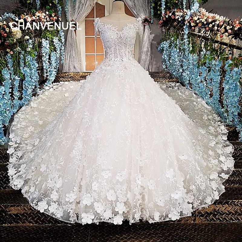 LS00174 vestido de noiva durchsichtig zurück perlen kurzen ärmeln spitze ballkleid kathedrale zug Luxus brautkleider real photo