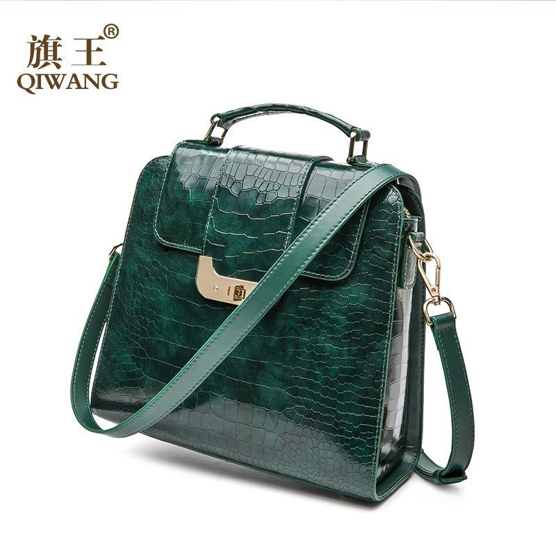 QIWANG Real Genuine Leather Women Handbag Authentic Leather Shoulder Bags Luxury Brand Elegant Ladies Fashion Green Bag 2018