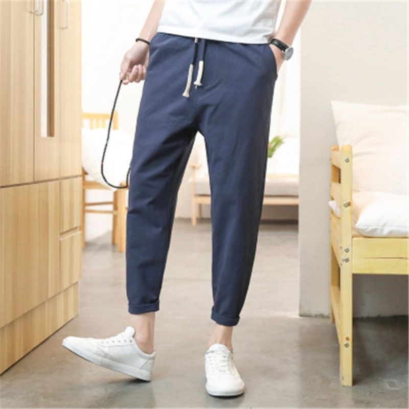 2018 summer thin section loose youth cotton and linen nine pants men's casual pants  2D10