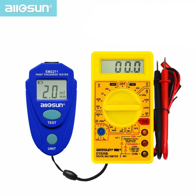 Compteur d'épaisseur numérique tout-soleil compteur d'épaisseur de voiture EM2271 + multimètre numérique DT830B