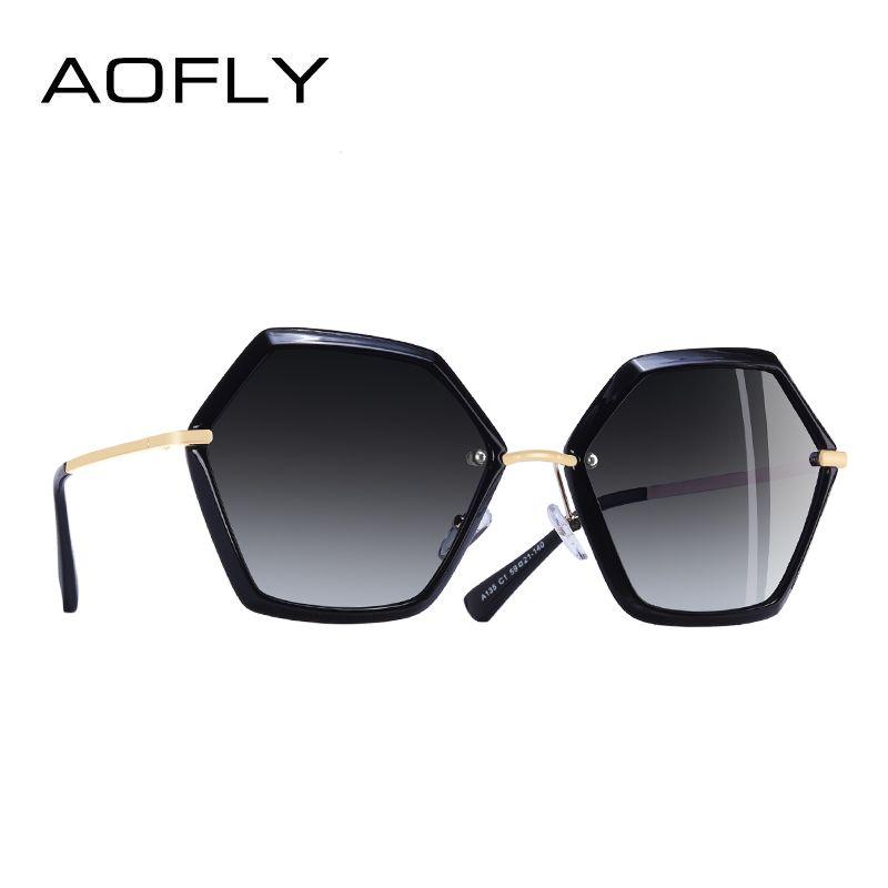 AOFLY MARCA DISEÑO Único Hexágono Marco gafas de Sol de Las Mujeres Señoras de La Manera gafas de Sol Polarizadas Gafas UV400 A135