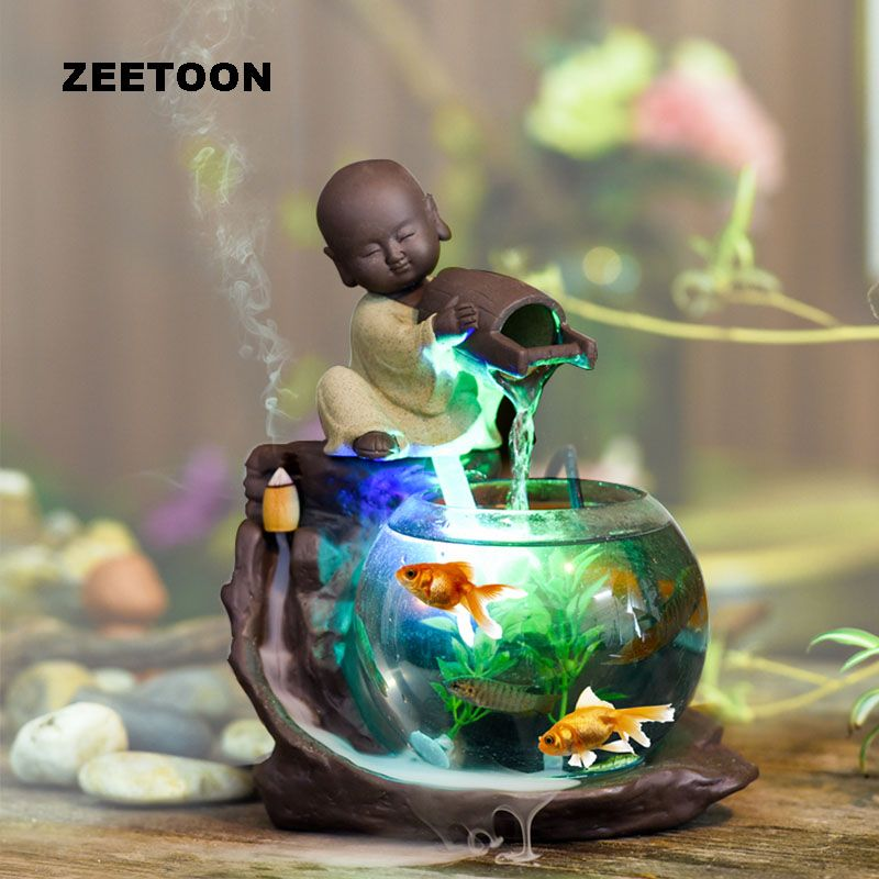 110-240V Mini Water Fountain Humidifier Atomizer Fish Tank Desktop Feng Shui Ornaments Lucky Home Decor Creative Incense Burner
