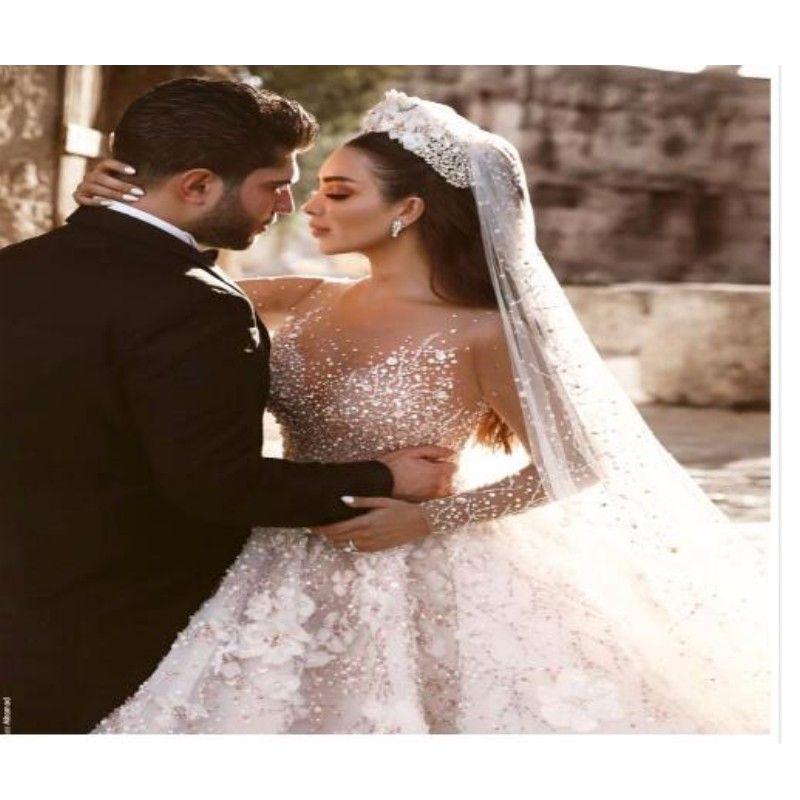 Dubai Luxus Kristall Hochzeit Kleider 2018 Shiny Perlen 3D Blume Hochzeit Kleider Mit Sheer Volle Hülsen Perlen Vestido De Noiva