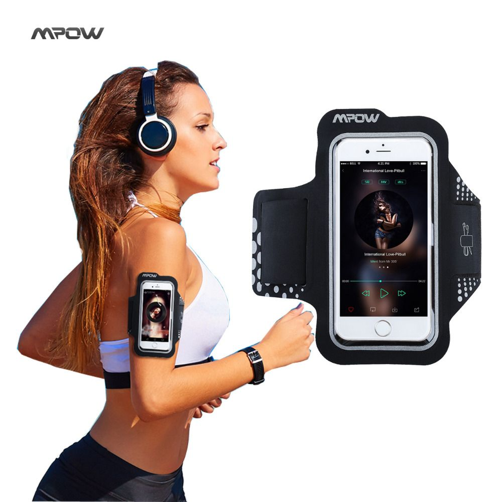 Mpow Sweatproof Exercice Courir Sport Brassard pour iPhone 5S 6 s/6 Samsung Galaxy S7 S6, Xiaomi Huawei P9 Noir Sport Téléphone Cas
