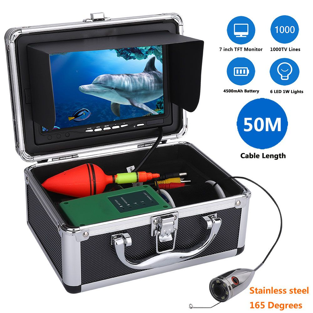 MAOTEWANG Stainless Steel 1000tvl Underwater Fishing Video Camera Kit 6 PCS 1W LED Fish Finde with 7