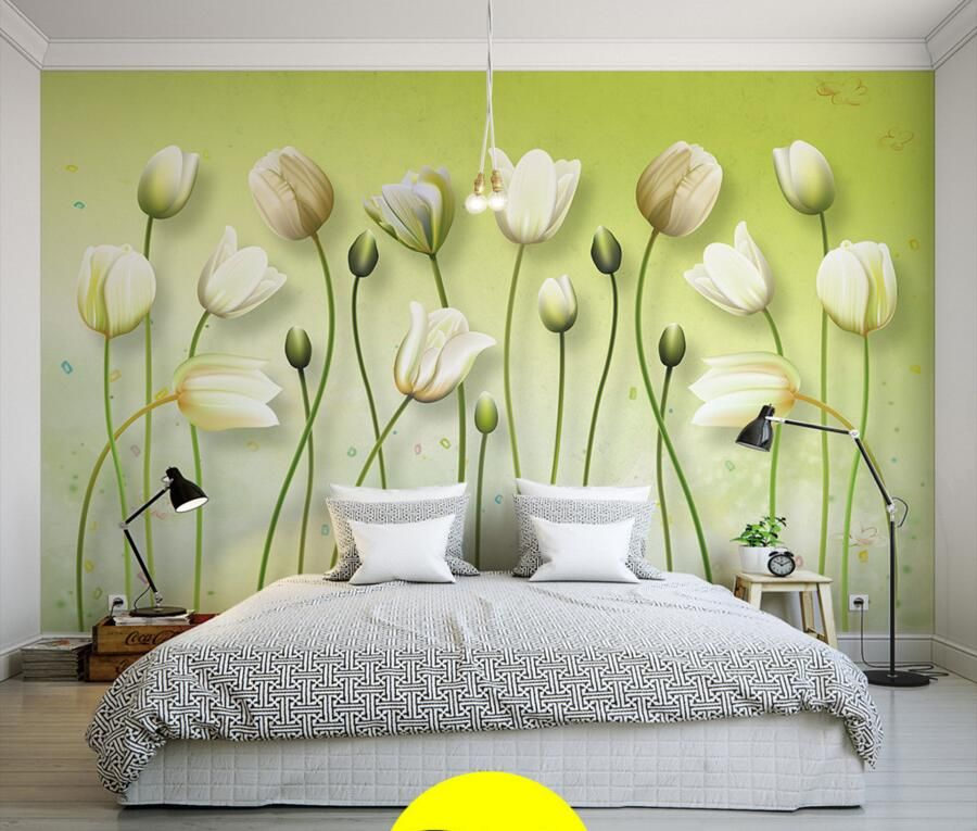 Latest Pure and fresh lilies painting 3d modern wallpaper murals,living room tv sofa wall children bedroom papel de parede