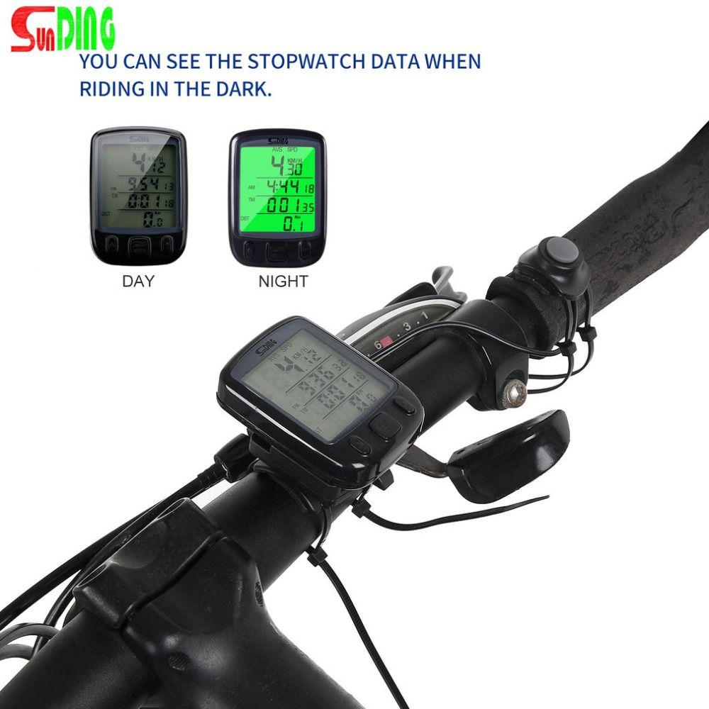 Sunding SD 563b Водонепроницаемый ЖК-дисплей Дисплей Велоспорт велосипед Велосипедные компьютеры пробега Спидометр с зеленым Подсветка Лидер пр...