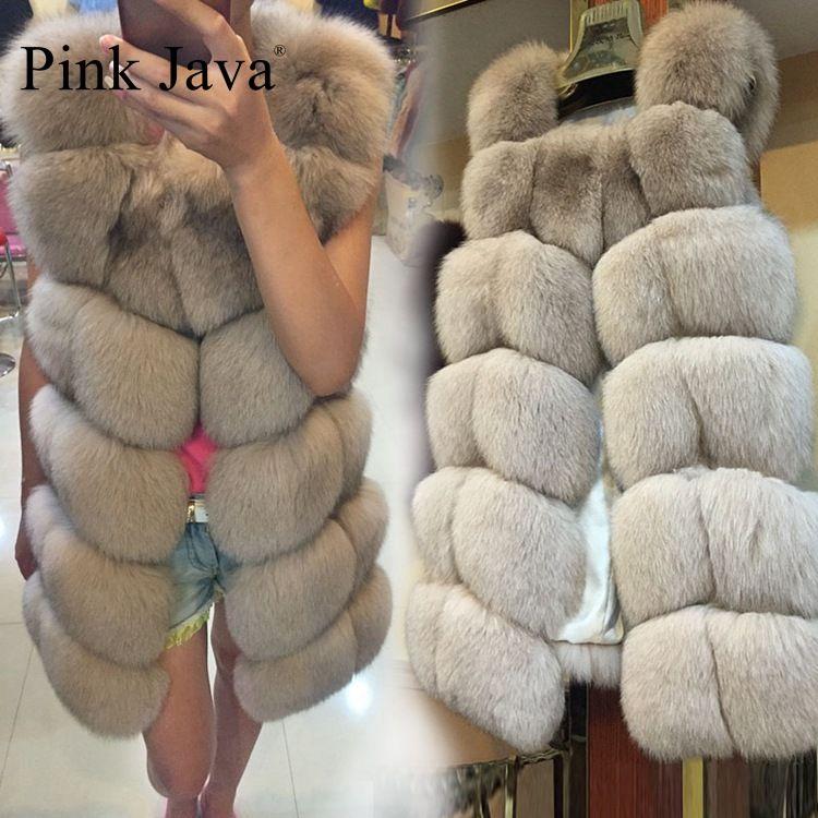 Pink Java QC8046 BIG SALE FREE SHIPPING hot new natural fox fur long vest real fox fur gilet winter high quality women fox