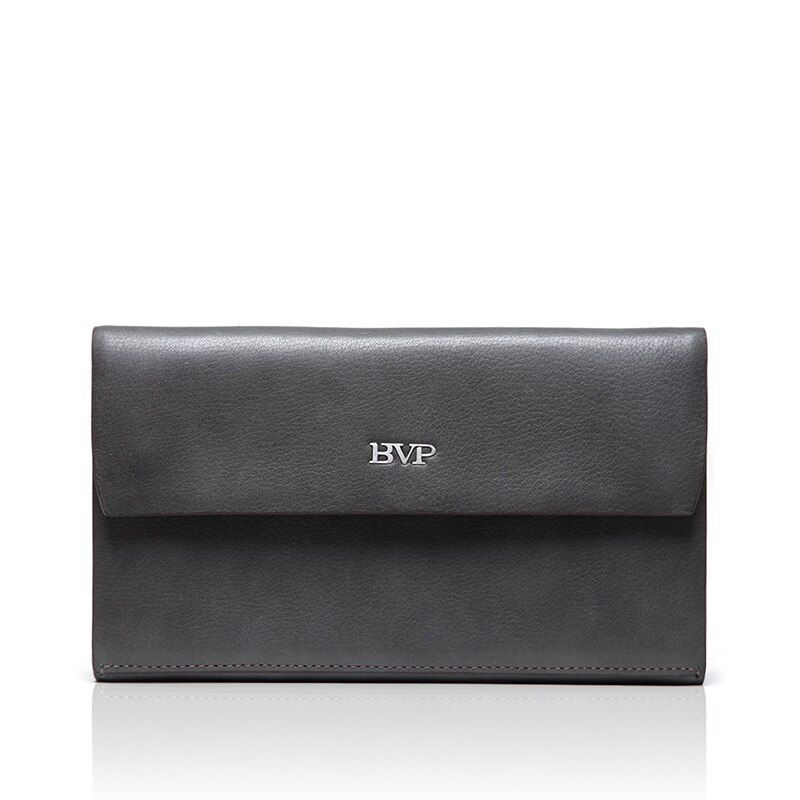 BVP - Luxury Brand High-end Simple Elegant Fashion Top Grain Leather Wrist Clutch Handbag Man Big Wallet Hand Bag J30