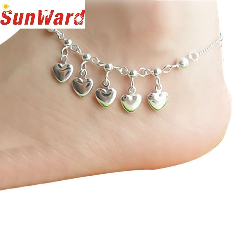 Bracelets on the feet Life Wholesale Beach Sexy 5 Hearts Women Chain Ankle Bracelet Barefoot Sandal Beach Foot Jewelry pesca