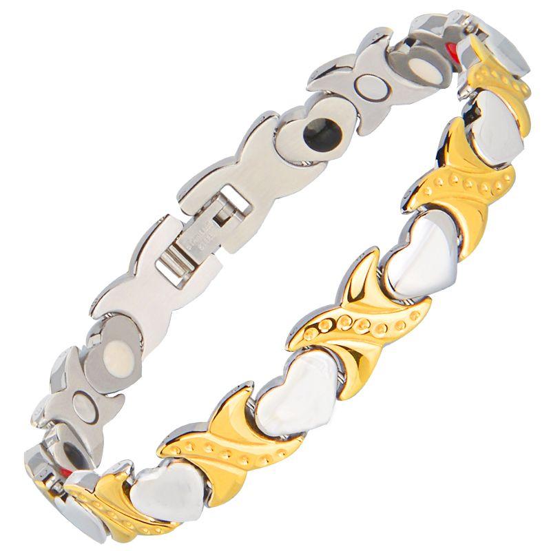 Baisse Shippiing 2000 Gauss Bio Magnétique Bracelet Argent et D'or Femmes De Mode de Titane Acier Bijoux Pour Dame