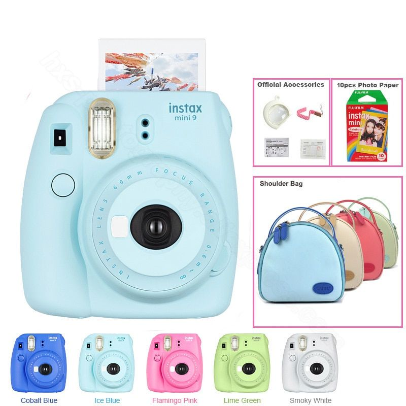 Genuine Fuji Fujifilm Instax Mini 9 Instant Camera Kit with Shoulder Bag and Fujifilm instax Mini Instant Film Rainbow, 5 Colors