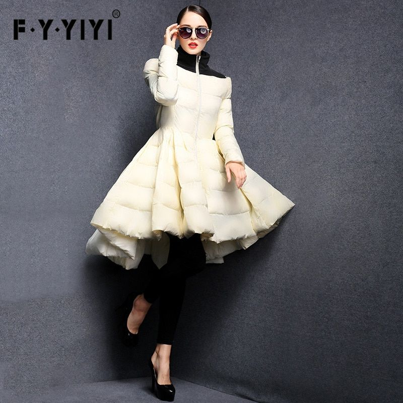 FYYIYI Pleated wave skirt 2018 New Fashion Women Winter Down Jackets Warm Long Slim Coat Female Big Swing Ladies Outwear Dress