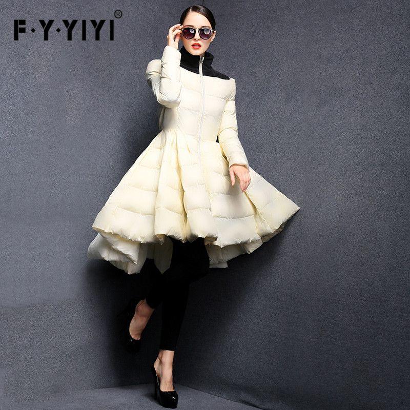 FYYIYI Plissée Vague Jupe 2018 nouvelle mode Femmes D'hiver Vers Le Bas Vestes Long Manteau Chaud Slim Femme Big Swing Dames Outwear Robe